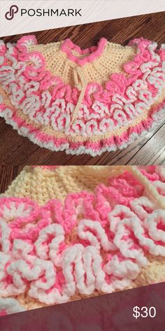 Pink and yellow crochet ruffle pettiskirt This is a handmade crochet ruffle pettiskirt that will fit up to 6/9 months! It has a drawstring waist to adjust the size. This is perfect for the first 2-3 milestone shoots!  Wonderful item perfect for spring photos! Your photographer will adore you for getting this!  Price firm. Bottoms Skirts
