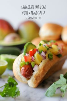 Hawaiian Hot Dogs with Mango Salsa  I left out the tomatoes for Colin but made the rest according to the recipe. I really liked it! Colin didn't so much but I he's not very daring with hot dogs... I would definitely make it again!