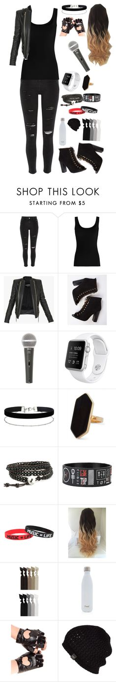 """""""The Singer"""" by sparklequeen101 ❤ liked on Polyvore featuring River Island, Twenty, Balmain, Galaxy Audio, Miss Selfridge, Jaeger, Emi-Jay, S'well and UGG Australia"""