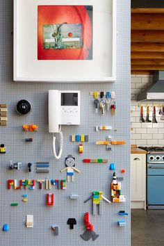 Lego board and Lego pieces; the result Lego board and Lego pieces; the result Lego board and Lego pieces; the result Lego board and Lego pieces; the result Deco Lego, Little Boys Rooms, Lego Wall, Colorful Apartment, London Apartment, Family Apartment, Small Hallways, Lego Room, Design Studio