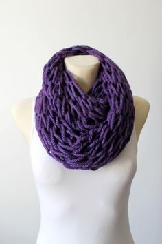 Chunky Knit Scarf Knit Infinity Scarves Purple Knit Scarf Oversized  Knitting Gift for her Womens Scarves Cowl Snood Scarf Winter Knit Snood