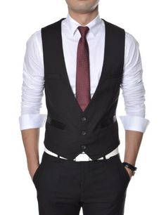 TheLees (TLV1) Mens Business Slim fit 3 Button Vest Waist Coat Black Medium(US Small) $45.00 #TheLees #Suits #SportCoats