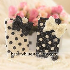bow dot Crystal iphone 5 cases,pearl iphone 4,4s covers. $25.90, via Etsy.