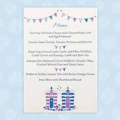 Beach Hut wedding reception menu - The Leaf Press Wedding Menu Cards, Wedding Stationery, Beer Battered Cod, Chunky Chips, Wedding Reception, Wedding Day, Tomato Chutney, Beach Themes