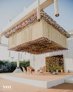 Looking for Unique mandap decor with floral string ceiling? Browse of latest bridal photos, lehenga & jewelry designs, decor ideas, etc. Wedding Hall Decorations, Marriage Decoration, Flower Decorations, Sea Decoration, Wedding Mandap, Cake Wedding, Wedding Bride, Wedding Events, Wedding Garlands