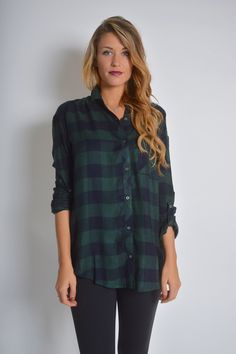 Green Gingham Flannel | $36 | Foi Clothing | Gingham Pattern Basic Collar Button Down Roll Tab Sleeve | Plaid Shirt | Navy and Forest Green Checkered Plaid | Women's Fashion Flannel | Fall Flannels | Holiday Flannels |