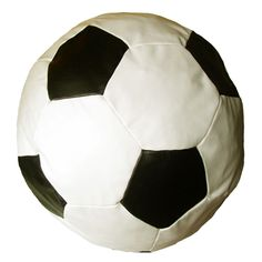 Childrens Football Beanbag White / Black Faux Leather Kids