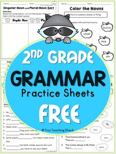 Second Graders: These handy no-prep practice sheets should help your students get extra practice on their grammar. This packet is made for second grade, but it is also suitable for advanced first graders or third graders who need extra help. 2nd Grade Grammar, 2nd Grade Ela, 2nd Grade Writing, 2nd Grade Classroom, 2nd Grade Reading, Third Grade, Second Grade Freebies, Second Grade Math, Grade 1