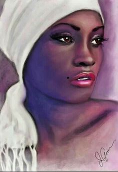 Art and Portraits Black Love Art, Black Girl Art, Art Girl, Black Art Painting, Black Artwork, Portrait Art, Portraits, African American Artwork, African Art Paintings