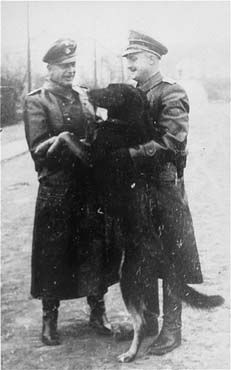 Two SS officers and a guard dog , in the Janowska concentration camp . Janowska Poland between January 1942 and November 1943