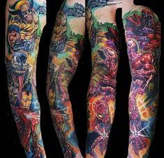 tattoo sleeve marvel tattoos sleeve tattoos guy tattoos crazy tattoos ...