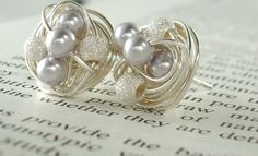 Lavender/Star Dust - Mix It Up Series- Swarovski Glass Pearl and Stardust bead Wire Wrapped Stud Earrings