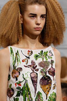 Schiaparelli Spring 2016 Couture Fashion Show Details, gorgeous sequinned vegies!