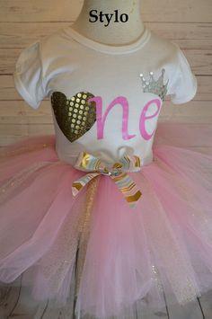 Birthday Tutu Set order or follow us on Facebook ; www.facebook.com/... #birthday #pinktutu #first #gold #styloboutique