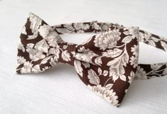 Men's floral bow tie brown floral print bow tie by KristineBridal, $39.99