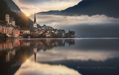 """Sunrise on Hallstatt (Austria). This shot was taken a few minutes later than """"Moment of Magic"""", one of my favorites images in my own gallery. You can also enjoy more pictures and our experiencies, as well as all information of your interest about all our trips at http://www.dondemellevenmispasos.blogspot.com"""""""