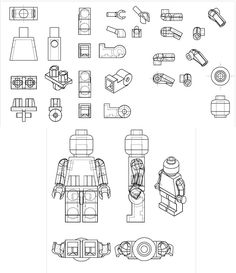 Solidworks CAD drawing I did of the Lego man. Posting wires such that it can be used as a modeling reference. Solidworks CAD files can be found here Blender model (modeled from the reference) ca. Lego Tattoo, Legos, Lego Poster, Lego Disney, Lego Man, Lego Room, Cad Drawing, Drawing Tips, 3d Prints