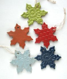 pottery snowflake ornaments