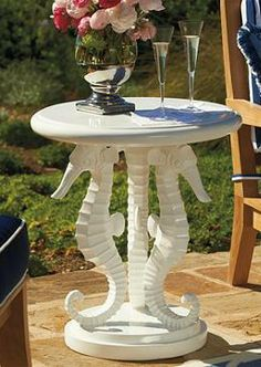 Under-the-sea style is even better above ground with our Seahorse Side Table in White.