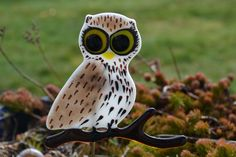 Fused Glass Owl Plant Stake, Garden Stake, Hand Painted OOAK, One of a Kind by PurpleSlugGlassArt on Etsy
