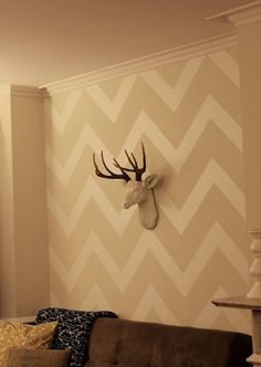 Contact Paper Chevron Wall; Perfect solution for renters who can't paint or put up wallpaper!