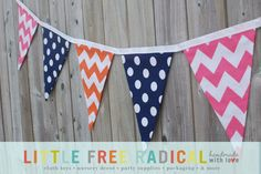 Navy Blue Dot and Orange and Pink Chevron by LittleFreeRadical  Playroom color ideas