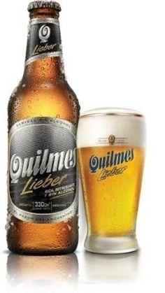 Cerveja Quilmes Lieber, estilo Sem álcool, produzida por Quinsa, Argentina. 0% ABV de álcool.