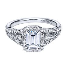 Modern Gabriel & Co. White Gold Contemporary Halo Engagement Ring- customization available at Westshore Diamond!