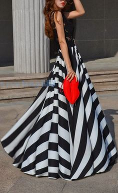 Stripe High Waist Maxi Dress. If only I had a Black and White Ball to go to.