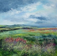 """""""Time to Make Hay"""", looking inland away from the coast 50cm square framed Oil and Acrylic on canvas. www.sueread.co.uk"""