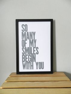 Valentine Poster Gray So Many of My Smiles by happydeliveries, $20.00