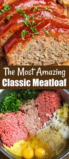 Amazing meatloaf recipe, so tender and juicy. This classic recipe is easy to make by combining ingredients together and baking it in the oven. The glaze on top is a wonderful compliment to the meat and has only three simple ingredients. Classic Meatloaf Recipe Easy, Easy Meatloaf Recipe With Bread Crumbs, Good Meatloaf Recipe, Meat Loaf Recipe Easy, Classic Recipe, Meatloaf Recipe With Beef And Pork, Meatloaf In Oven, Gourmet, Appetizers