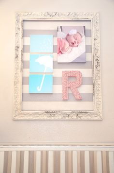 baby room framed wall with ombre print