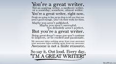 You're great writer