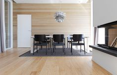 Oak parquet Select, brushed matte lacquered in Housing Fair 2014 home. Table, Wooden Flooring, Flooring, Furniture, Interior, House, Conference Room Table, Home Decor, Dining Table