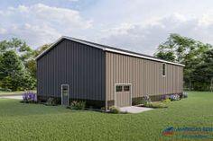 Garage House Plans, Barn House Plans, Metal Building Homes, Building A House, Metal Homes, Barn House Design, Barndominium Floor Plans, Stone Facade, Amazing Spaces