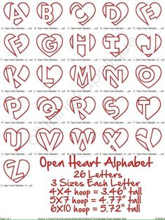 Open heart alphabet lettering (originally found on Etsy)–just in time for Valentine's day!Open Heart Applique Alphabet 26 Letters 3 by allthingsappliqueDiscover thousands of images about creative hand lettering alphabets Part time Paint Nite arti Alphabet A, Hand Lettering Alphabet, Doodle Lettering, Creative Lettering, Lettering Styles, Calligraphy Letters, Full Alphabet Fonts, 26 Letters, Letter Art