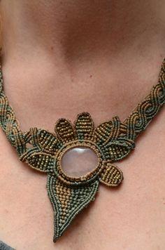Items similar to Macrame Necklace with Turqoise Stone on Etsy