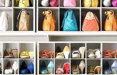 You can fit more pairs on a shelf when you position each shoe this way, and cubbies help keep everything tidy. Recreate this set-up with organizers from The Container Store. Tiny Closet, Small Closets, Master Closet, Closet Bedroom, Shoe Closet, Small Closet Organization, Purse Organization, Closet Storage, Hidden Storage