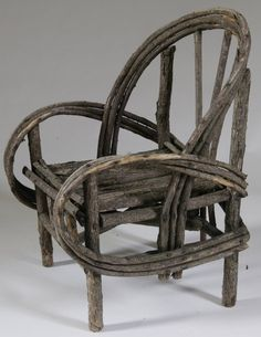 491: Rustic Handmade Child's Twig Chair : Lot 491