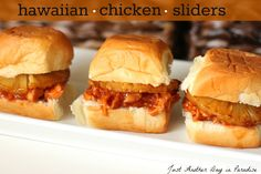 Awesome and easy!  Even the kids ate them!  Just Another Day in Paradise: Slow Cooker Saturday: Hawaiian Chicken Sliders
