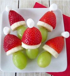 Grinch Fruit Kabobs food recipes christmas christmas recipes christmas ideas christmas food christmas party favors christmas desserts ideas for christmas healthy christmas food Christmas Party Snacks, Christmas Appetizers, Christmas Desserts, Holiday Treats, Christmas Baking, Holiday Recipes, Fruit Appetizers, Vegetable Appetizers, Christmas Cheese