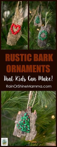 DIY Christmas Ornaments from Bark. All-natural and easy Christmas tree ornaments that kids can make! Nature-inspired and beautiful – a perfect homemade gift for the grandparents or a teacher. This is a holiday craft that is fun for kids and adults alike. Christmas Crafts For Adults, Diy Crafts For Adults, Homemade Christmas Gifts, Diy Christmas Ornaments, Christmas Projects, Kids Christmas, Homemade Gifts, Holiday Crafts, Diy Gifts