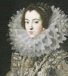 1620 Isabel de Borbón, primera esposa de Felipe IV by ? (Prado) close up | Grand Ladies | gogm