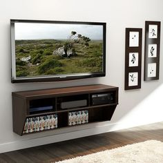 This Espresso Wide Wall Mounted AV Console TV Stand is perfect for any contemporary living space. Cables are neatly concealed in hidden wire pathways to provide a professional, designer look. Console Tv, Console Table, Best Tv Wall Mount, Mount Tv, Hidden Tv, Tv In Bedroom, Bedroom Ideas, Hanging Rail, Wall Mounted Tv