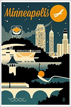 Shop for Minneapolis, Minnesota - Retro Skyline - Lantern Press Artwork (Art Print - Multiple Sizes Available). Get free delivery On EVERYTHING* Overstock - Your Online Art Gallery Store! Get in rewards with Club O! Wisconsin, Michigan, Voyage Usa, Skyline Art, Akron Ohio, Free Canvas, Stock Art, Illustrations, Vintage Travel Posters