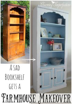 I love a dramatic before and after, and this one did not disappoint. How does one give a dark old bookcase some farmhouse style? The process will amaze you!