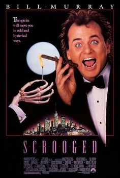 """Scrooged"" (1988). COUNTRY: United States. DIRECTOR: Richard Donner. SCREENWRITER: Mitch Glazer, Michael O'Donoghue. CAST: Bill Murray, Robert Mitchum, Karen Allen, John Forsythe, John Glover, Michael J. Pollard, Alfre Woodard, John Murray, Robert Goulet, Lee Majors, Buddy Hackett, John Houseman, Bobcat Goldthwait, Sachi Parker"