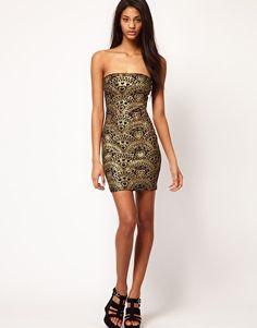 Enlarge ASOS Strapless Dress In Glitter Print