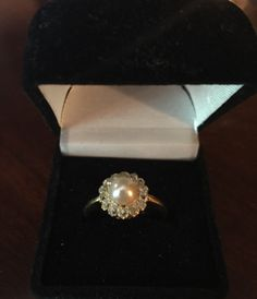 Another shot of the gorgeous custom-made Paloma antique pearl and diamond ring. Get it at Rose and Coco! :) etsy.com/shop/roseandcoco  #diamond #ring #wedding #engagement #finejewelry #diamondsandpearls #diamondsareagirlsbestfriend #RoseandCoco #onlineboutique #jewellery #antique #vintage #pearl